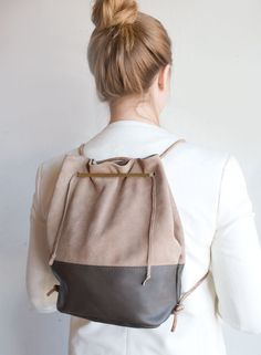 Lagoa Leather Bucket Bag in Drift Wood- Leather and Suede, by Awl Snap Leather Goods