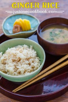 Ginger Rice 生姜の炊き込みご飯 - Cooked with ginger, fried tofu skin, and soy sauce base sauce, this Japanese Ginger Rice is so fragrant that you would enjoy it on its own. #ricerecipes #japanesefood #asianrecipes #healthyrecipeseasy #japaneserice #gingerrecipes | Easy Japanese Recipes at JustOneCookbook.com