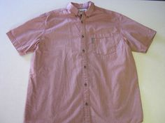 Columbia Shirt L Large SS Short Sleeve Red Mens #Columbia #ButtonFront