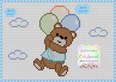 Cross Stitch House, Simple Cross Stitch, Cross Stitch Baby, Cross Stitch Charts, Cross Stitch Designs, Cross Stitch Patterns, Cross Stitching, Cross Stitch Embroidery, Baby Teddy Bear