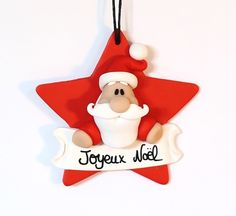"""Etoile Père noel - """"Joyeux noel"""" Merry Christmas, Polymer Clay Christmas, Handmade Christmas, Clay Projects, Clay Crafts, Diy And Crafts, Crafts For Kids, Christmas Cake Topper, Christmas Decorations"""