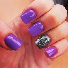 Purple & Black with a touch of sparkle ✨ (Nails by Kim)