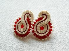 soutache stud earrings small everyday earrings creamy white