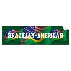brazilian and american flag   Brazilian-American Waving Flag Car Bumper Sticker   Zazzle