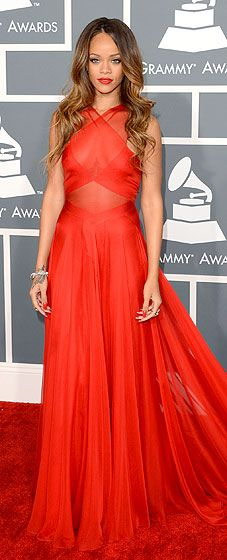 Rihanna wore a custom Azzedine Alaia dress, Neil Lane jewelry and Manolo Blhanik shoes at the 2013 Grammys.