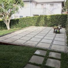 Quick And Easy Backyard Patio Ideas - See more ideas about outdoor gardens patio and backyard. Patio and outdoor furniture diy backyard ideas. Large Pavers Used To Create Patio In Backyard. Large Backyard Landscaping, Backyard Patio Designs, Diy Patio, Backyard Pavers, Flagstone Patio, Landscaping Ideas, Patio With Pavers, Concrete Patio, Stone Backyard
