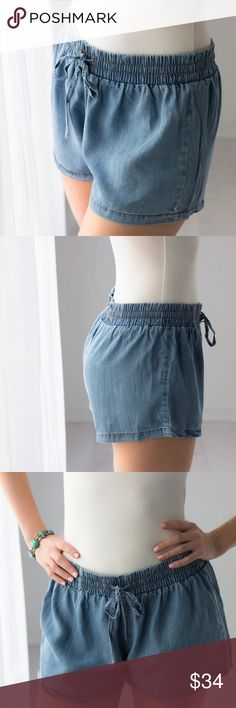 🆕Weekend Chambray Shorts ◽️Summer chambray shorts with a comfy fit. So cute! These are 100% lyocel and are sooooo soft! New. Elastic adjustable drawstring waist. Highly recommend! New.   ▫️Price is firm, no offers. BUNDLE AND SAVE! 10% discount on 3+ items applies automatically at checkout 📷 Photos are my own 11thstreet Shorts