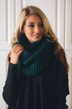 Teal Ribbed Knit Infinity Scarf