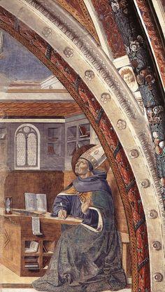 St Augustine's Vision of St Jerome (scene 16, east wall). 1464-65 Fresco Apsidal chapel, Sant'Agostino, San Gimignano.
