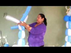 Como hacer una columna tejida con 4 globos 350 o 3