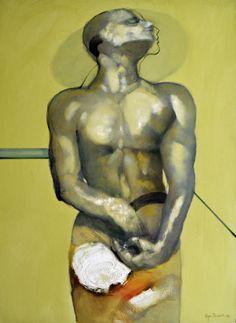 """Olga Sinclair (1957-     ) - Iniciou os seus estudos com o seu pai, o pintor Alfredo Sinclair.  """"Pensamento de Atleta"""", de 2002 – Esta obra retrata o momento de concentração do desportista antes de entrar em prova. Destaca-se nesta pintura a influência de figuração clássica."""