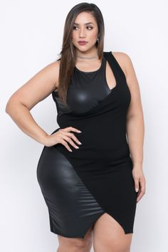 This plus size, stretch peekaboo cocktail dress features a scoop neck, a peekaboo hole, and a front slit. MADE IN USA Content + Care Polyester Spandex White Girls, White Women, Curvy Women Fashion, Plus Size Fashion, Erica Lauren, Curvy Hips, Photography Women, White Photography, Skirts With Boots