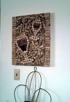 Wine cork canvas by UpcycledAndUncorked on Etsy, $45.00