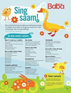 Sing saam oumie Preschool Games, Preschool Lessons, Preschool Learning, Teaching, Toddler Learning, Kids Nursery Rhymes, Rhymes For Kids, Pre Primary School, Prayers For Children