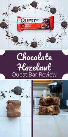 Chocolate Hazelnut Quest Bar Review. This Quest bar features whole hazelnuts and chocolate chunks to create the ultimate healthy snack or low sugar dessert. East this as a quick breakfast, a high protein snack, or a healthy dessert. One of the best protein bars from Quest Nutrition. #proteinbars #proteinpowder #questnutrition #chocolatehazelnut #nutella #quickbreakfast #healthysnack #lowsugardessert #easybreakfast #healthydessert #proteinsnack #bestproteinbars #chocolateproteinbar Best Protein Bars, Chocolate Protein Bars, High Protein Snacks, Chocolate Hazelnut, Healthy Snacks, Quest Bars, Quest Bar Review, Low Sugar Desserts, Quest Nutrition