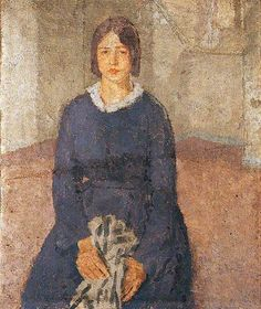 Girl in a Blue Dress Holding a Piece of Sewing by Gwen John (1876-1939). British. She is celebrated for her small, intense and atmospheric paintings of anonymous females sitters and the interiors of empty rooms. A slideshow of 64 paintings here.