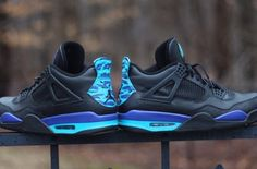"""Check These Customs Out. An Air Jordan 4 With An """"Aqua"""" Feel To It - http://kickson.fr/1DhJEcp"""