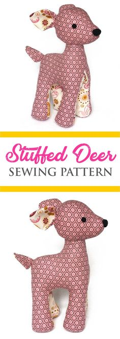 This cute stuffed deer sewing pattern is a must-sew! It's not that hard to make; perhaps just takes a bit more time than an easy stuffed animal pattern. Sewing Basics, Sewing Hacks, Sewing Tutorials, Sewing Ideas, Sewing Stuffed Animals, Stuffed Animal Patterns, Stuffed Animal Diy, Handmade Stuffed Animals, Fabric Toys