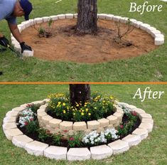 flower beds These gorgeous flower bed ideas will give your home major curb appeal. Find inspiring ways to design, plant, and arrange flower beds for stunning results. Landscaping Around Trees, Outdoor Landscaping, Front Yard Landscaping, Landscaping Ideas, Outdoor Gardens, Outdoor Decor, Landscaping Blocks, Hillside Landscaping, Outdoor Tables
