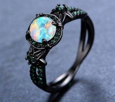 Black Gold White Fire Opal Ring