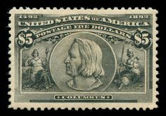 Christopher Columbus. This stamp is one of the most prized items in US philately.