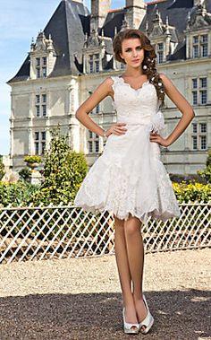 A-line V-neck Knee-length  Lace Wedding Dress