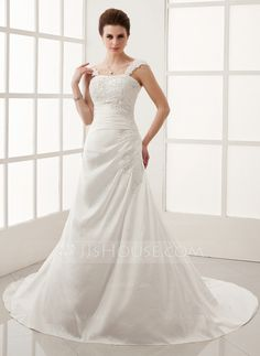 Wedding Dresses - $198.99 - A-Line/Princess Chapel Train Taffeta Wedding Dress With Ruffle Lace Beadwork (002011974) http://jjshouse.com/A-Line-Princess-Chapel-Train-Taffeta-Wedding-Dress-With-Ruffle-Lace-Beadwork-002011974-g11974