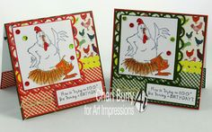"""Art Impressions Rubber Stamps: """"Birdie""""  (#1834) from the Bird Brain collection sentiment ...""""Laying an egg"""" (#1865) ...handmade birthday card."""