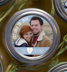 personalized Photo Mason Jar Labels or Envelope seals 2 inch round stickers for wedding favor, baby shower, save the dates, etc . . . by KudzuMonster