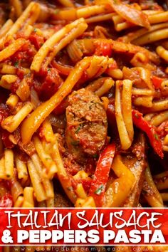 Here I show you how to turn the classic 'Sausage and Peppers' into the most delicious pasta recipe imaginable! | www.dontgobaconmyheart.co.uk Sausage And Peppers Pasta, Sausage Pasta Recipes, Yummy Pasta Recipes, Cheesy Recipes, Easy Dinner Recipes, Cooking Recipes, Yummy Food, Menu Rapido, Pepper Pasta Recipe