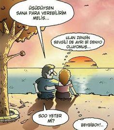 - Üşüdüysen sana para verebilirim Melis…  + Ulan zengin sevgili de ayrı bi denyo oluyomuş…  - 500 yeter mi?  + Beybiboy!..  #karikatür #mizah #matrak #komik #espri #şaka #gırgır #komiksözler