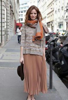 Pleated Midi Skirt // sweater // scarf