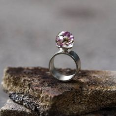 Resin Ring with Heather SIlver Ring Resin Jewellery Bridal