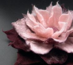 Burgundy and Rose Felt Flower Brooch Handmade by Brigite