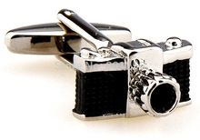 Free shipping Cufflinks black/white color novelty camera design copper material men cufflinks wholesale&retail(China (Mainland))