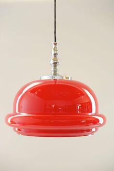 1960s 70s Vintage Rare Red Glass Design Pot Ceiling Lamp Pendant Light Panton