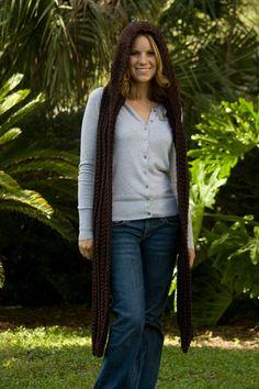 Hooded Scarf, Chocolate Brown Crochet Hood