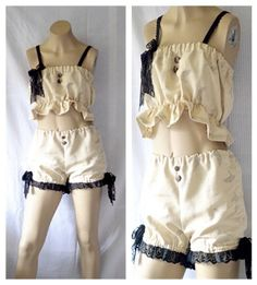 Linen Burlesque Bloomers Shabby Bloomers Short by BlackRainCouture