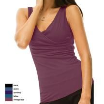Draped Tank by Blue Canoe  $65    Only ships in the U.S.    Get dressed once and go through the day. Simply designed, organically grown cotton clothing with an effortless sense of style. Never leave your comfort zone with Blue Canoe.  Cross over front  Full bra liner  Shirring on left side  Back neckline drape detail  Hip length