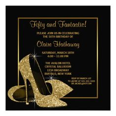 Black Gold High Heels Womans Birthday Party Custom Announcements 70th Invitations Retirement