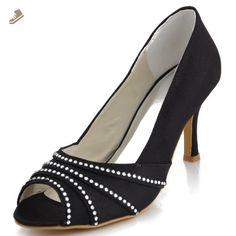 Elegantpark EP11051 Black Women's Peep Toe Stiletto Heel Satin Pumps Rhinestones Evening Party Shoes US 7 - Elegantpark pumps for women (*Amazon Partner-Link)