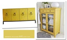 SW June Day: my kitchen table is undergoing a makeover in this color as we speak. Painting Kitchen Cabinets White, Yellow Cabinets, Diy Cabinets, Yellow Painted Furniture, Colorful Furniture, Painting Furniture, Wood Shop Projects, Home Projects, Paint Storage