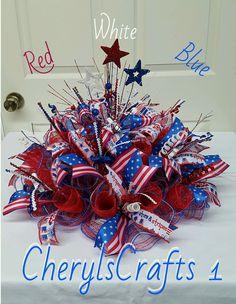 Red White Blue Centerpiece,Patriotic Centerpiece,July 4th Centerpiece,Labor Day Centerpiece,Summer Centerpiece by CherylsCrafts1 on Etsy