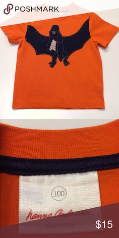 "EEUC Hanna Andersson 100cm short sleeve shirt Vibrant orange with navy pterodactyl appliqué. Still looks ""like new""! Hanna Andersson Shirts & Tops Tees - Short Sleeve"
