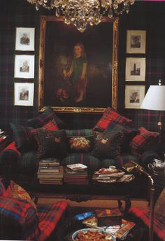 """Glorious Plaid and the Scottish Tartan - Clan Pride. """"I really like the room above from the Ralph Lauren collection because of the walls. The entire wall is covered in plaid which is quite luxurious. It makes me think of a library or a gentleman's club. Tartan Decor, Tartan Plaid, Plaid Sofa, Plaid Bedding, Br House, Home Projects, Family Room, Sweet Home, Interior Design"""