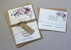 Rustic Floral Wedding Invitation, Lace Wedding Invitation, Rustic Wedding Invitation, Boho Chic Rustic kraft and shabby chic lace. The wedding