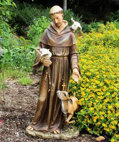 "St. Francis Statue Resin / Stone Mix, 36.5""H 16.5""W 13.5""D. Approximate weight is 27.5 lbs."