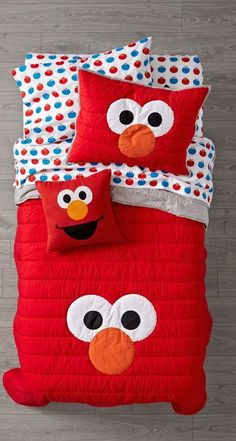 Shop Sesame Street All Eyes Elmo Bedding. Our Sesame Street All Eyes Elmo Bedding features a quilt with big, playful eyes on the front and solid color on the back. Plus, it was crafted from 100% cotton to keep your little one as cozy as can be.
