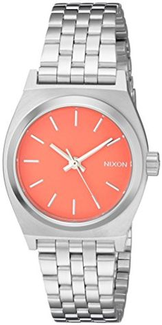 Nixon Women's A3992054 Small Time Teller Analog Display Analog Quartz Watch. The Nixon Small Time Teller features Miyota Japanese quartz three hand movement, the dial includes printed indices and custom molded hands, a stainless steel case with hardened mineral crystal, triple gasket crown with enamel fill, stainless steel screw down caseback and spring pin lugs. This watch has a tapered custom 5 link stainless steel jewelry style bracelet and stainless steel locking clasp. Analog-quartz...