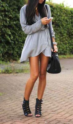 Lavender gray short dress shoulder bag fall spring outfits womens fashion clothes style apparel clothing closet ideas